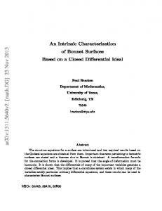 An Intrinsic Characterization of Bonnet Surfaces Based on a Closed