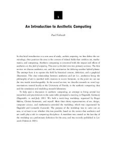 An Introduction to Aesthetic Computing