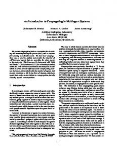 An Introduction to Congregating in Multiagent Systems
