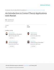 An Introduction to Control Theory Applications with