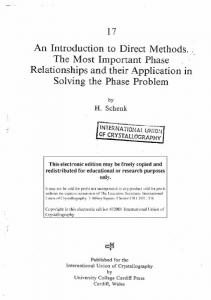 An Introduction to Direct Methods. The Most Important Phase ... - IUCr