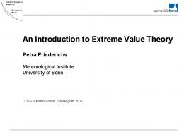 An Introduction to Extreme Value Theory