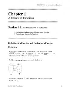 An Introduction to Functions - Precalculus Section 1.1 - Math 1330