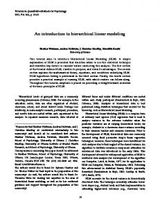 An introduction to hierarchical linear modeling - Quantitative Methods ...