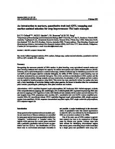 An introduction to markers, quantitative trait loci (QTL) mapping and ...