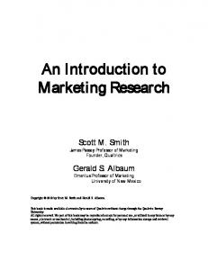 An Introduction to Marketing Research