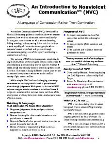 An Introduction to Nonviolent Communication (NVC)