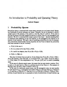An Introduction to Probability and Queueing Theory