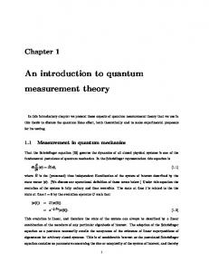 An introduction to quantum measurement theory - UQ eSpace