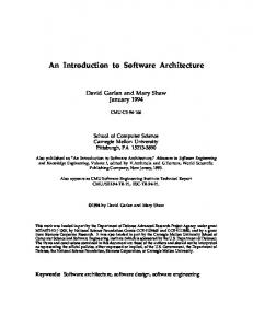 An Introduction to Software Architecture - School of Computer Science