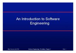 An Introduction to Software Engineering - Ian Sommerville