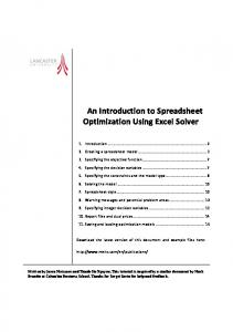 An Introduction to Spreadsheet Optimization Using Excel Solver