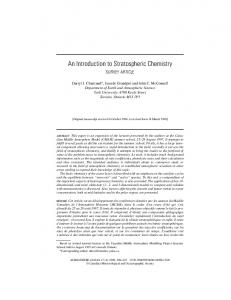 An Introduction to Stratospheric Chemistry - UQAM