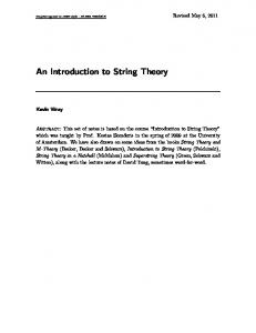 An Introduction to String Theory