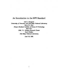 An Introduction to the MPI Standard - CiteSeerX