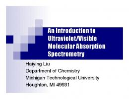 An Introduction to Ultraviolet/Visible Molecular ... - Chemistry
