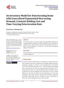 An Inventory Model for Deteriorating Items with Generalised ...