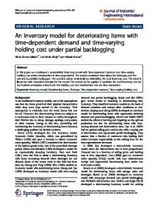 An inventory model for deteriorating items with time ... - Springer Link
