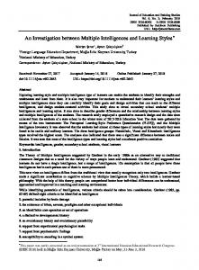 An Investigation between Multiple Intelligences and Learning ... - Eric