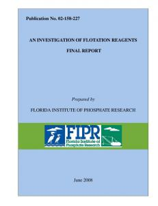 AN INVESTIGATION OF FLOTATION REAGENTS