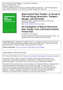 An Investigation of Natural Convection Heat Transfer