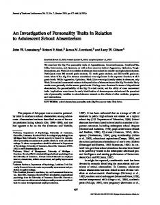An Investigation of Personality Traits in Relation to ... - Springer Link