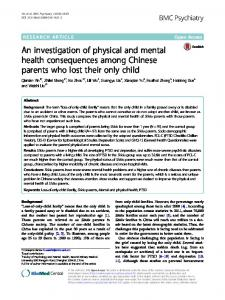 An investigation of physical and mental health ... - BMC Psychiatry