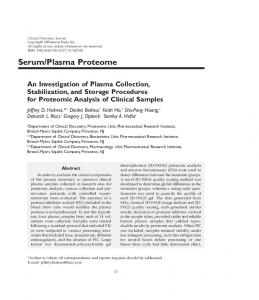 An investigation of plasma collection ... - Clinical Proteomics