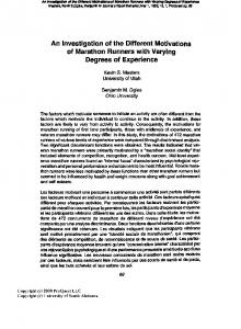 An Investigation of the Different Motivations of Marathon Runners with ...