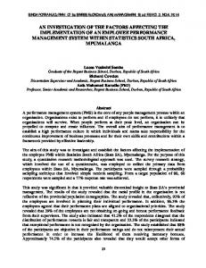 an investigation of the factors affecting the implementation of an ...