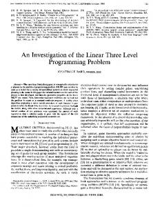An Investigation of the Linear Three Level Programming ... - IEEE Xplore