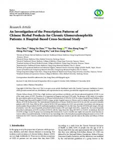 An Investigation of the Prescription Patterns of Chinese Herbal