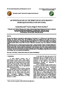 an investigation of the sorption of acid orange 7 from aqueous solution