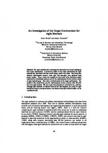 An Investigation of the Target Environment for Agile Methods