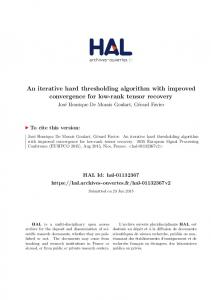 An iterative hard thresholding algorithm with improved ... - Hal