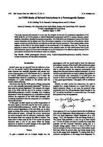 An NMR Study of Solvent Interactions in a Paramagnetic ... - CiteSeerX