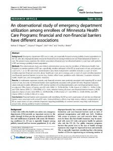 An observational study of emergency department utilization among ...