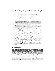 An Online Repository of Mathematical Samples - School of Computer