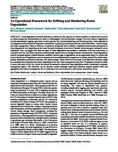 An Operational Framework for Defining and Monitoring Forest ...