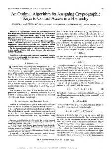 An Optimal Algorithm for Assigning Cryptographic - CiteSeerX
