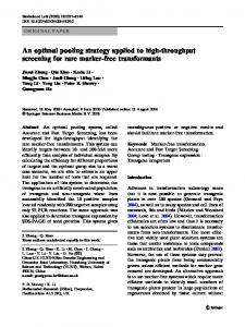 An optimal pooling strategy applied to high-throughput screening for ...