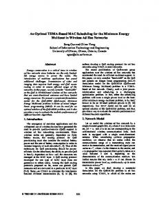 An Optimal TDMA-Based MAC Scheduling for the Minimum Energy ...