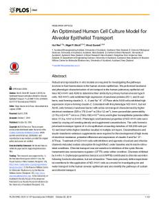 An Optimised Human Cell Culture Model for Alveolar Epithelial ... - PLOS