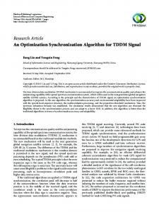 An Optimization Synchronization Algorithm for TDDM Signal