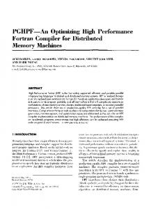 An Optimizing High Performance Fortran Compiler for Distributed ...