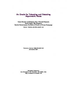 An Oracle for Tolerating and Detecting Asymmetric Races - Microsoft
