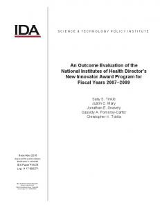 An Outcome Evaluation of the National Institutes of Health ... - IDA