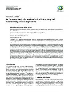 An Outcome Study of Anterior Cervical Discectomy and Fusion among ...