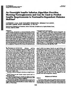 An Overnight Insulin Infusion Algorithm Provides Morning ...