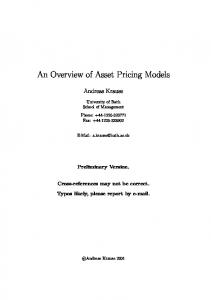 An Overview of Asset Pricing Models